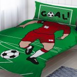 Footballer Red Single Duvet Cover and Pillowcase Set
