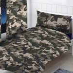 Grey Camouflage Single Duvet Cover and Pillowcase Set