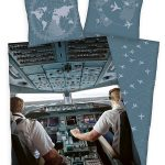 Airplane Pilot Single Cotton Duvet Cover and Pillowcase Set