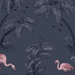 Flamingo Lake Wallpaper Midnight Blue Holden 12382