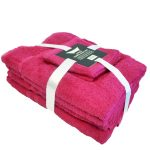 Hot Pink 6 Piece Cotton Bath Towel Bale Set