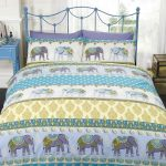 Jaipur Elephant Double Duvet Cover and Pillowcase Set – Blue