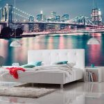 New York Brooklyn Bridge Neon Photo Wall Mural 368 x 254 cm