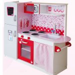 Leomark Big Wooden Kitchen with Fridge – Pink