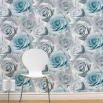 Madison Rose Floral Wallpaper Blue Muriva 119503