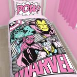 Marvel Comics Pink Pastels Single Duvet Cover and Pillowcase Set