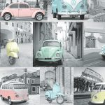 VW Volkswagen Collage Wallpaper Pastel Muriva 102563