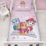 Paw Patrol Pastels 4 in 1 Junior Bedding Bundle Set (Duvet, Pillow and