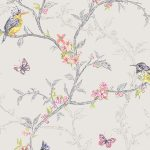 Phoebe Birds Wallpaper Dove Grey Holden 98081