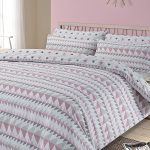 Rewind Geometric King Size Duvet Cover and Pillowcase Set – Blush