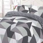Shapes Geometric Single Duvet Cover and Pillowcase Set – Black