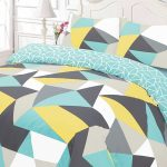 Shapes Geometric King Size Duvet Cover and Pillowcase Set – Blue