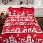 Reindeer Road Brushed Cotton Christmas King Size Duvet Cover Set – Red