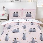 Starry Penguins Single Duvet Cover Set – Pink