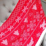 Nordic Print Bergen Christmas Throw Blanket – Red