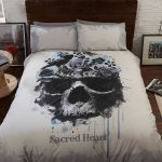 Sacred Heart Skull Double Duvet Cover and Pillowcase Set
