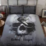 Rebel Heart Skull Double Duvet Cover and Pillowcase Set