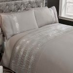 Carly Diamante Grey King Size Duvet Cover Set
