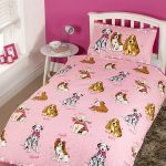 Doggies Pink 4 in 1 Junior Bedding Bundle Set (Duvet, Pillow, Covers)