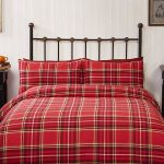 Campbell Red Tartan Brushed Cotton King Size Duvet Cover Set
