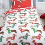 Christmas Sausage Dog Single Duvet Cover and Pillowcase Set