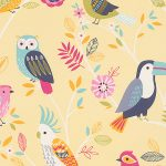 Birds Wallpaper Yellow Rasch 293029