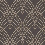 Astoria Deco Wallpaper Charcoal and Silver Rasch 305319
