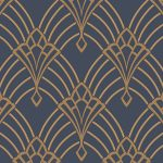 Astoria Deco Wallpaper Dark Blue and Gold Rasch 305340