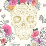 Sugar Skulls Wallpaper Cream and Gold Rasch 278026