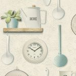 Kitchen Utensils Vinyl Wallpaper Cream Rasch 307108