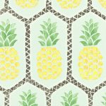 Pineapple Wallpaper by Barbara Becker – Pale Teal and Yellow Rasch