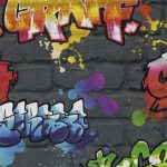 Graffiti Wallpaper Black Rasch 237801
