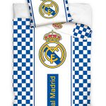 Real Madrid CF White Checked Single Cotton Duvet Cover Set