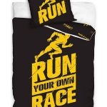 Runners Single Cotton Duvet Cover Set – Black and Yellow