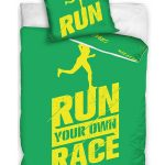 Runners Single Cotton Duvet Cover Set – Green and Yellow