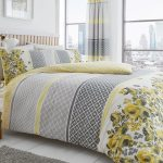 Saphira Grey and Yellow Floral King Size Duvet Cover Set