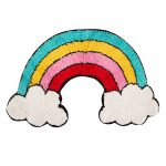 Rainbow with Clouds Shaped Floor Rug