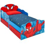 Spiderman Toddler Bed with Storage and Light Up Eyes plus Deluxe Foam