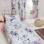 Stardust Unicorn Single Duvet Cover and Pillowcase Set – Purple and