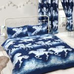 Stardust Unicorn Double Duvet Cover and Pillowcase Set – Navy Blue
