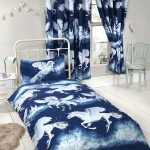 Navy Blue Stardust Unicorn 4 in 1 Junior Bedding Bundle Set (Duvet,