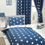 Navy Blue and White Stars 4 in 1 Junior Bedding Bundle Set (Duvet,