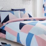 Sydney Blue and Pink Geometric Double Duvet Cover and Pillowcase Set