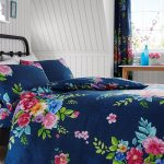 Alice Floral Double Duvet Cover and Pillowcase Set – Navy and Pink