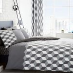 Cubix Geometric Double Duvet Cover and Pillowcase Set – Grey