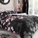 Roseanne Floral Double Duvet Cover and Pillowcase Set – Black