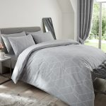 Metro Geometric Diamond King Size Duvet Cover Set – Grey