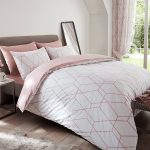 Metro Geometric Diamond King Size Duvet Cover Set – Blush