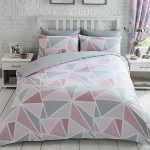 Metro Geometric Triangle Double Duvet Cover Set – Pink / Grey