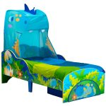 Dinosaur Toddler Bed with Storage and Canopy plus Foam Mattress